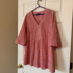 Ulla Pompken Red and White Tunic Top-- Size 20/22